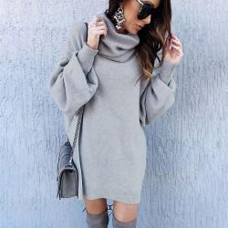 Moda color puro Otoño Invierno suelto largo suéter de cuello alto vestido mujer abrigo