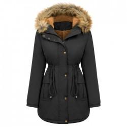 Mode peluche coton veste capuche fourrure col hiver chaud épais veste grande taille femmes manteau