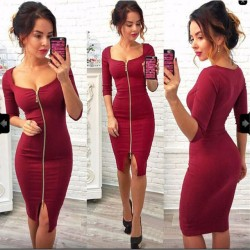 Paquete de cremallera de color entero de mangas tres cuartos de las mujeres atractivas falda de la cadera vestido