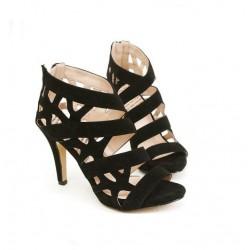 Sandalias de tacón alto Zapatos de la correa impermeable de cabeza hueca