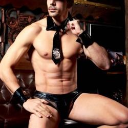 Lencería sexy de Cosplay de los hombres de cuero de la tentación del uniforme de policía