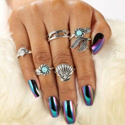 Retro aleación Blue Pine Shell 5 Sets Bohemia accesorios anillo de las hojas
