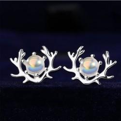 Original Moonstone Elk Antlers Earring Studs Silver Female Simple Creative Student Earring
