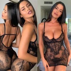 El camisón de encaje negro sexy incluye malla íntima para mujer Camisón Lencería