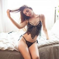 Conjunto de sujetador de encaje negro con borlas de hojas sexy Ropa interior para mujer Lencería íntima