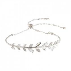 Brazalete de hojas de rama de diamante de cristal fresco Pulsera de plata con hoja romántica para mujer