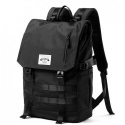 Mochila grande para ordenador de ocio, bolso de escuela secundaria universitario, mochila negra impermeable con doble hebilla para estudiantes