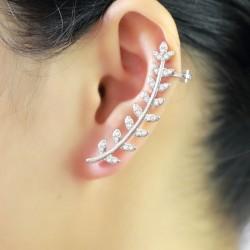 Hojas lindas ramas clips de oreja de diamantes de imitación