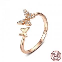 Moda ajustable cristal delicado animal promesa compromiso boda anillo de plata lindo doble mariposa anillos abiertos