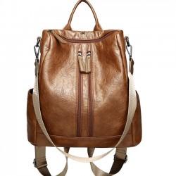 Casual cremalleras dobles escuela PU retro multifunción bolsa de hombro mochila del estudiante
