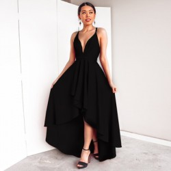 Las mujeres elegantes en V cuello alto correas Sexy High Low Prom Dresses Party Dress