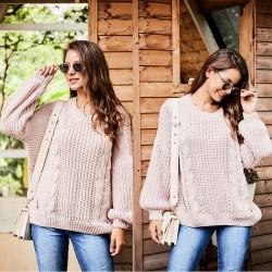 Ocio de manga larga calado suéter de las mujeres tejer suéter de cuello redondo torcido