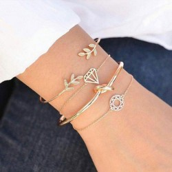 Fashion Personality Leaf Diamond Open Four Piece Women Bracelet
