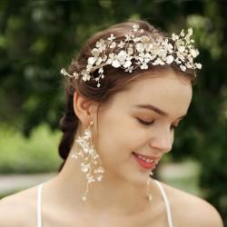 Fresco Mori Garland Nupcial Flor hecha a mano Tocado de la boda Corona Accesorios para el cabello