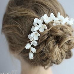 Accesorios para el cabello de la boda del peine del pelo de cerámica de la flor de la horquilla nupcial fresca