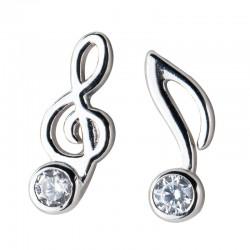 Moda clave de sol Pendientes de plata con cristal de nota musical para mujer Pendientes asimétricos Pernos prisioneros