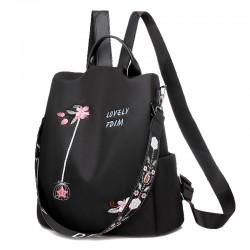 Moda flor de loto bordado tela Oxford impermeable multifunción bolso de hombro mochila de mujer
