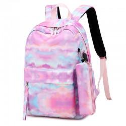 Impresión de la nube de la tinta del paisaje con el estuche grande ligero del lápiz del bolso del puerto USB Conjunto de 3 piezas Mochila escolar para mochila de estudiante adolescente