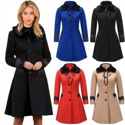 Moda Otoño Invierno Abrigo para mujer Solapa de lana Cuello de piel desmontable Encaje Abrigo largo para mujer
