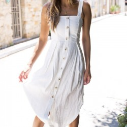Vestido largo sin tirantes sin mangas con correa larga y botones para mujer