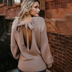 Manera de la mujer de la espalda del arco del arco de punto suelto suéter largo de lana