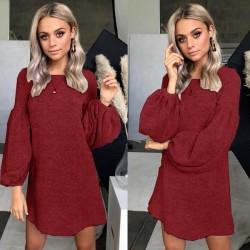 Ocio vestido de manga larga camisa de fondo suéter de punto de las mujeres