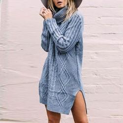 Suéter de manga larga de color puro o cuello de moda para mujer