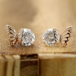 Exquisito Elegante Winky Circón Hueco Dorado Mariposa Aretes