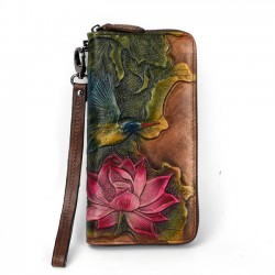 Retro Original Loto Flor Lotus Leaf Bird Clásico Bolso de embrague Billetera en relieve