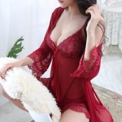 Sexy Encaje Lazo Camisón Albornoz Malla Honda Pijama Lencería femenina