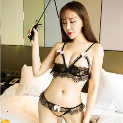 Conjunto de sujetador abierto de encaje sexy Conjunto de ropa interior Arco Hollow Encaje Sling Lencería Mujer