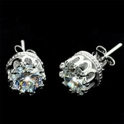 Pendientes de corona transparente de plata pura