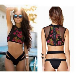 Trajes de baño florales Conjunto de bikini de traje de baño de malla de alta cintura de impresión Bikini