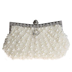 Noble Bling Diamante Satín Con perlas Fiesta Embrague Paseo Anochecer Bolso bolso de la boda