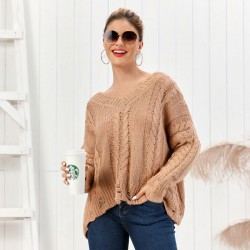 Leisure Knit Long Sleeve V-neck Twist Cardigan Coffee Loose Women Sweater