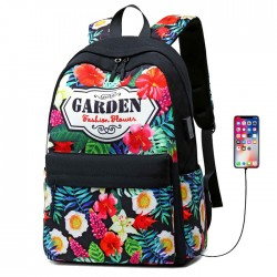 Fresco Flor Jardín Bolsa de estudiante USB Floral grande Universidad Mochila de lona
