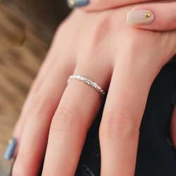 Simple Lover Gift Emboss Open Silver Ring