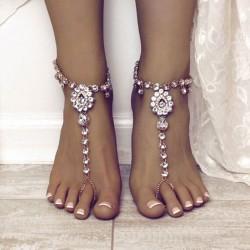 Anillo de accesorios de pie de diamantes de imitación de borla de yoga lindo Tobillera de cristal de verano