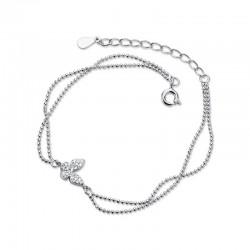 Moda mariposa doble capa plata mariposa diamante joyería ajustable mujeres tobilleras pulsera