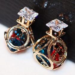 Pendientes coloridos del pendiente de las muchachas cúbicas cristalinas de la bola de la camelia de la camelia