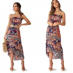 Fashion Halter Strap Beach Holiday Bohemia Flower Long Summer Dress
