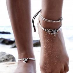 Paquete de accesorios para pies de yoga de runas vintage Tobillera de verano doble estrella de mar