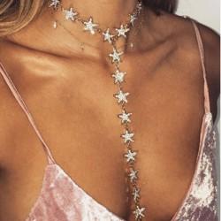 Moda larga cadena de estrella de diamantes personalidad collar de mujeres