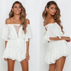 Sexy mameluco vestido de manga media hueco fuera del hombro blanco
