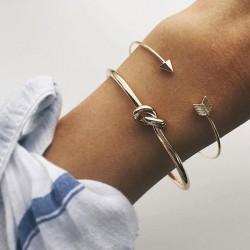 Flecha dorada de moda anudada dos set pulsera abierta