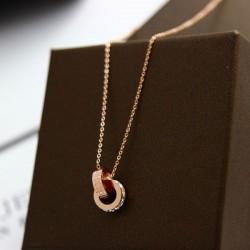 Moda circular Oval doble anillo Rhinestone colgante collar