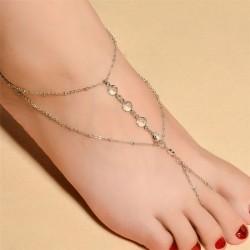 Tobillera casual simple para mujer en la playa Cristal Con cuentas Tobillera accesoria del pie