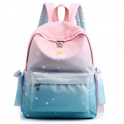 Fresh Waterproof Student Backpack Girls Junior Gradient Starry Sky Dolphin High School Backpacks