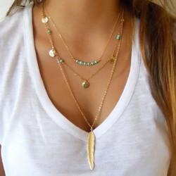 Trendy turquesa mujeres collar de múltiples capas deja plumas y-collares