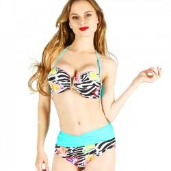 Bikinis Floral de verano de la impresión de la flor de la cintura alta de la playa de las mujeres atractivas traje de baño de las mujeres